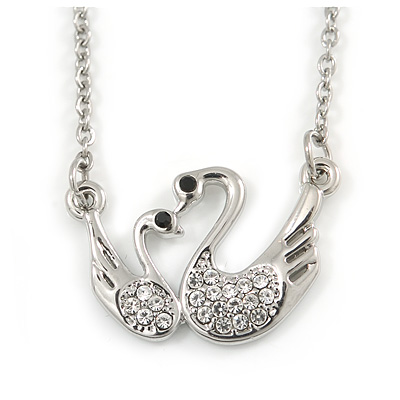 Delicate Crystal Double Swan Pendant With Silver Tone Chain - 42cm L/ 5cm Ext