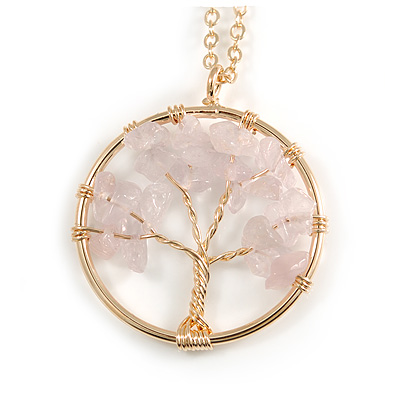 'Tree Of Life' Open Round Pendant Rose Quartz Semiprecious Stones with Gold Tone Chain - 44cm