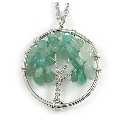 'Tree Of Life' Open Round Pendant Jade Semiprecious Stones with Silver Tone Chain - 44cm
