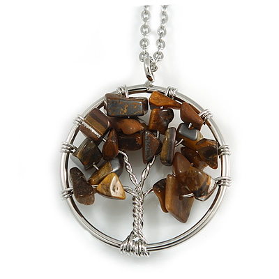 'Tree Of Life' Open Round Pendant Tiger Eye Semiprecious Stones with Silver Tone Chain - 44cm