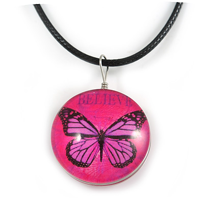Delicate Round Glass Butterfly (Two-sided) Pendant with Black Cord (Deep Pink/ Black) - 42cm L/ 5cm Ext