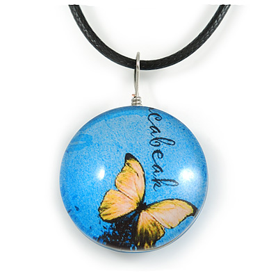 Delicate Round Glass Butterfly (Two-sided) Pendant with Black Cord (Blue/ Black/ Yellow) - 42cm L/ 5cm Ext