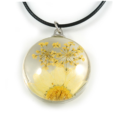 White/ Yellow Daisy Round Glass Pendant with Black Cord - 42cm L/ 5cm Ext