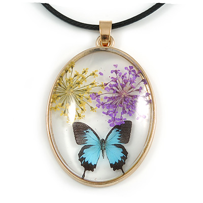 Oval Multi Butterfly Glass Pendant with Black Cord - 42cm L/ 5cm Ext (Each piece is handmade individually thus comes with a different owl design)