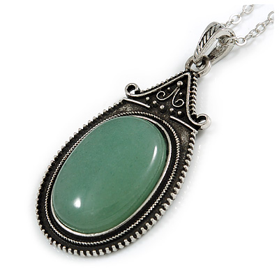 Victorian Style Green Aventurine Oval Pendant with Silver Tone Chain - 70cm Long