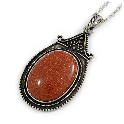 Victorian Style Brown Goldstone Oval Pendant with Silver Tone Chain - 70cm Long