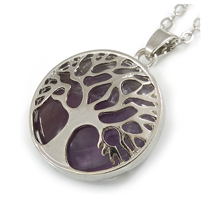Round Amethyst Stone Tree Of Life Pendant with Silver Tone Chain - 70cm Long