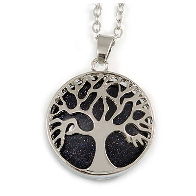 Long Dark Blue Goldstone Tree Of Life Pendant with Silver Tone Chain - 70cm
