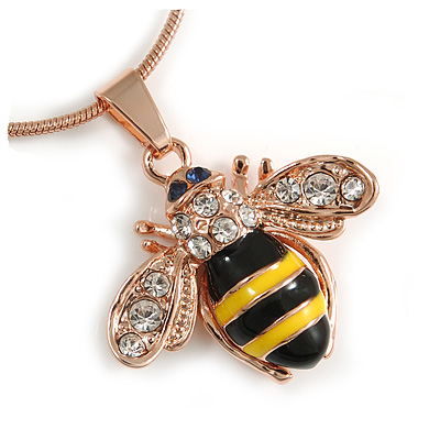 Small Cute 'Bee' Pendant Necklace In Rose Gold Tone Metal - 40cm Length & 4cm Extension - main view