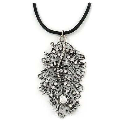 Burn Silver Large Diamante 'Feather' Pendant On Black Leather Cord Necklace - 38cm Length/ 7cm Ext