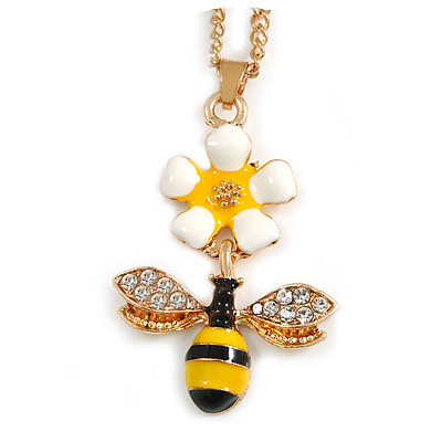 Cute Crystal Enamel Flower and Bee Pendant with Gold Tone Chain - 44cm Long