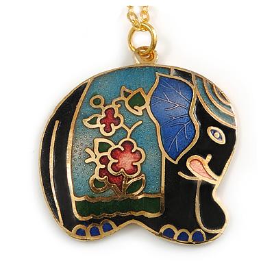 Multicoloured Enamel Elephant Pendant with Gold Tone Chain - 44cm L/ 5cm Ext