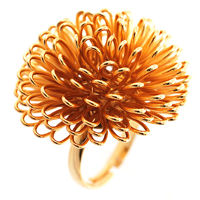Gold Tone Blowball Costume Ring - avalaya.com