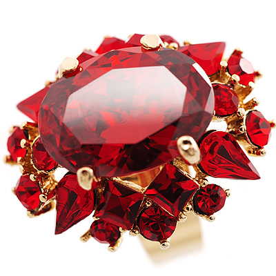 1930S Hollywood Style Hot Red Cocktail Ring - avalaya.com :  swarovski crystal 1930s hollywood style hot red cocktail ring jewellery rings