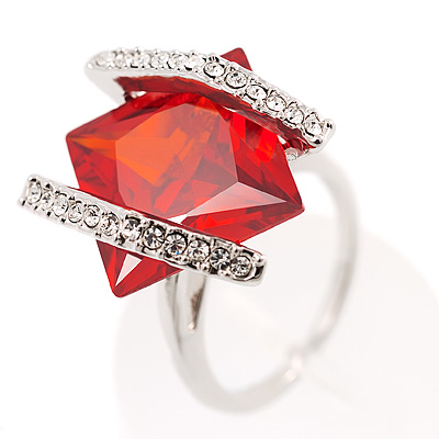 J Lo Style Bright Red Crystal Fashion Ring - avalaya.com