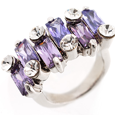 Fashion Baguette-Cut Lilac Cocktail Ring - avalaya.com