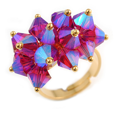 Iridescent Currant Fashion Cocktail Ring