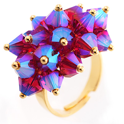 Iridescent Currant Fashion Cocktail Ring - avalaya.com