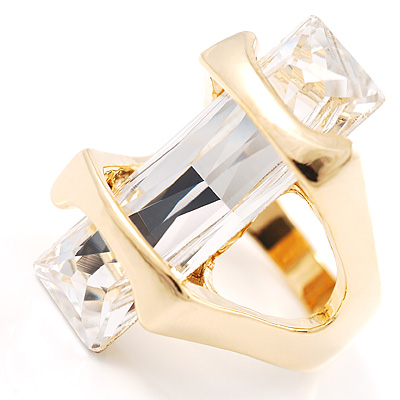 St.Tropez Style Clear Crystal Cocktail Costume Ring - avalaya.com
