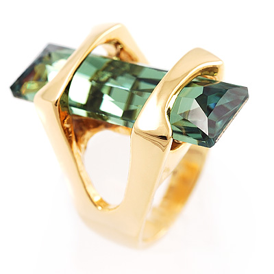 St.Tropez Style Emerald Crystal Cocktail Costume Ring - avalaya.com
