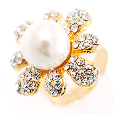 Camomile Imitation Glass Pearl Ring