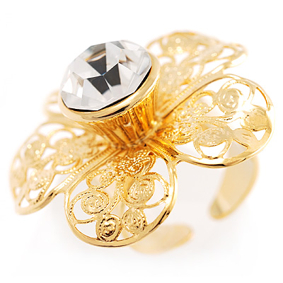 Large Gold Filigree Flower Cocktail Ring - avalaya.com