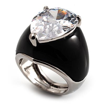 Pear-Cut Clear Swarovski Crystal Fashion Ring - main view