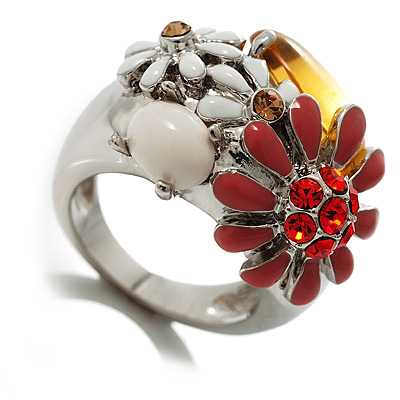 Daisy Enamel Cocktail Ring (White, Red & Citrine) - avalaya.com