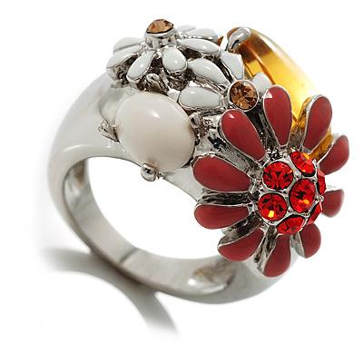Daisy Enamel Cocktail Ring (White, Red & Citrine) - avalaya.com