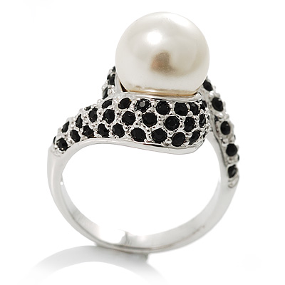 Silver Plated Black Swarovski Crystal Simulated Pearl Ring - avalaya.com