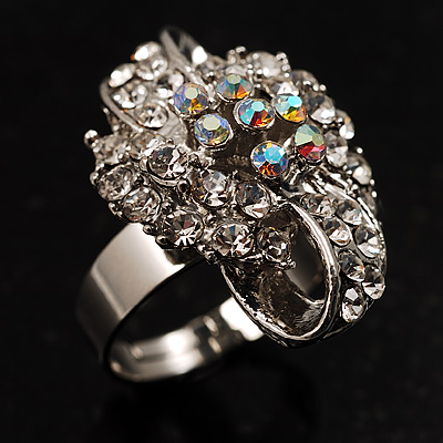 Clear Crystal Swirl Cocktail Ring