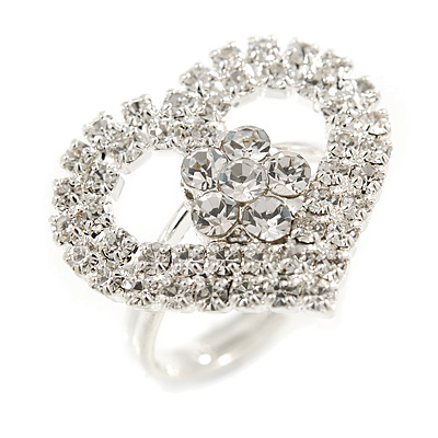 Clear Crystal Heart Ring - main view