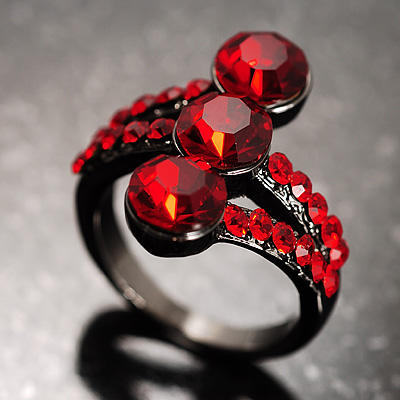 Red Trinity Crystal Ring