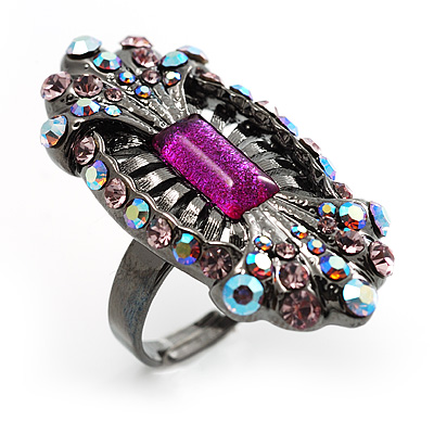 Black Tone Elongate Vintage Crystal Ring (Magenta) - avalaya.com