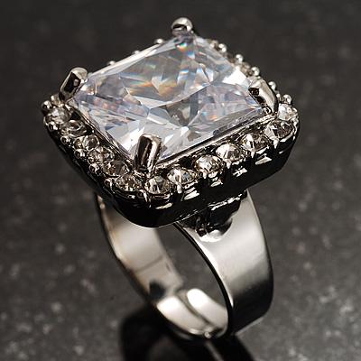 Princess-Cut Clear Crystal Ring (Silver-Tone) - main view