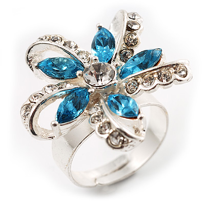 Bold Blue Crystal Flower Cocktail Ring - avalaya.com