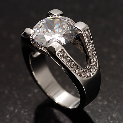 Brilliant-Cut Crystal Clear CZ Solitaire Ring - main view