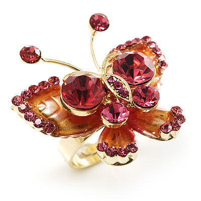 3D Crystal Butterfly Ring (Gold&Pink) - avalaya.com