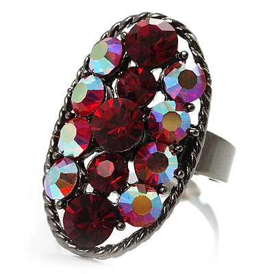 Red Crystal Oval-Shaped Cocktail Ring