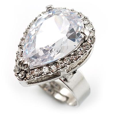 Pear-Cut Clear Crystal Ring (Silver-Tone)