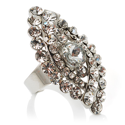 Dazzling Crystal Cocktail Ring (Clear&Silver)