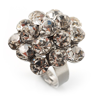 Clear Crystal Cluster Ring