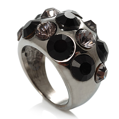 Jet Black Crystal Band Ring