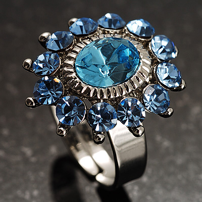 Blue Crystal Fancy Ring - avalaya.com
