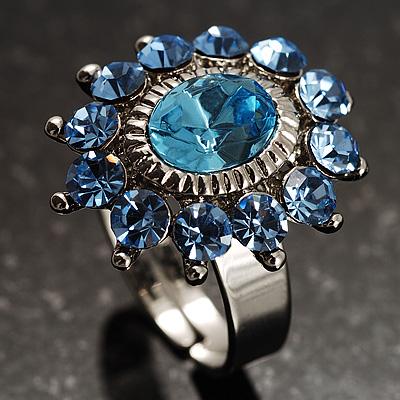 Blue Crystal Fancy Ring - avalaya.com