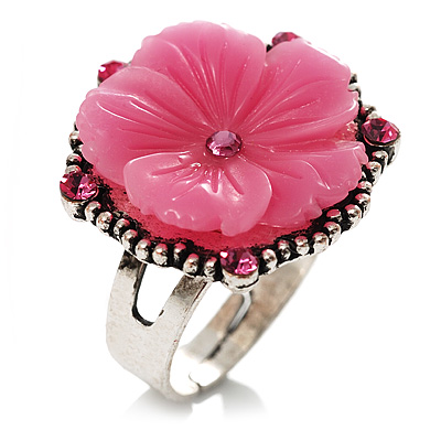 Antique Silver Pink Flower Ring