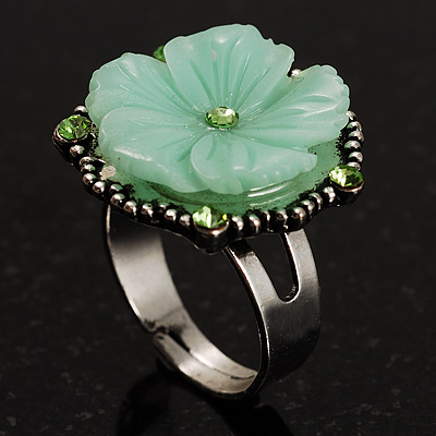 Antique Silver Pale Green Flower Ring - avalaya.com