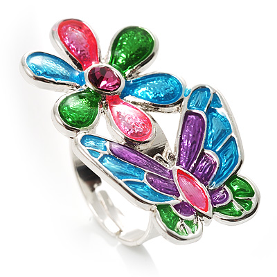 Multicolour Enamel Flower And Butterfly Ring - main view