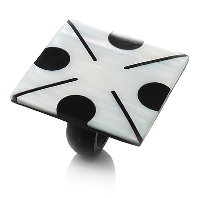 Square Shell 'Domino' Cocktail Ring