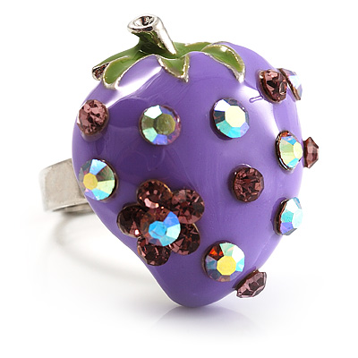 Violet Enamel Strawberry Ring